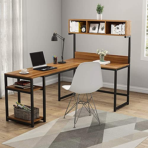 Tribesigns L-Shaped Desk with Hutch, 68 Inches Corner Computer Desk Gaming Table Workstation with Storage Bookshelf for Home Office,Dark,Walnut