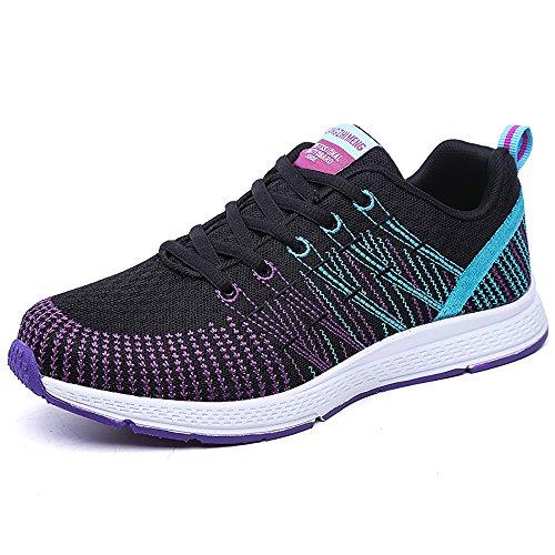 PAMRAY Damen Fitness Laufschuhe Sportschuhe Schnüren Running Sneaker Netz Gym Schuhe Violet 40