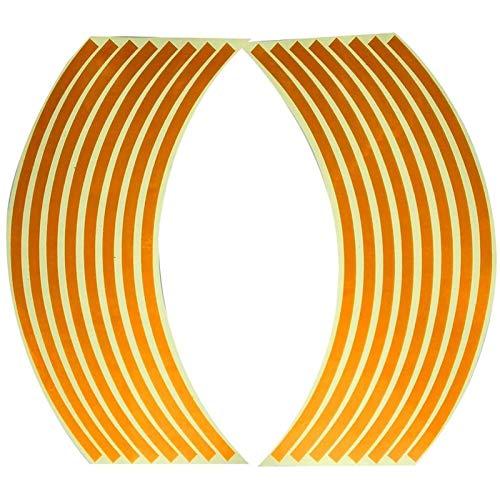 NBKLSD Etiqueta engomada de la Rueda del Coche de la Motocicleta de 16pcs para el Anillo de la Rueda de 16-18 Pulgadas del neumático del Borde de la Rueda Pegatinas Reflectantes (Color : Orange)