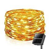 Solar Lichterkette Außen, 26M 240 LEDs Lichterketten Aussen, Wasserdicht mit 8 Leuchtmodis Lichterkette für Balkon, Gartendeko, Bäume, Terrasse, Hochzeiten, Weihnachtsbeleuchtung (Warmweiß)