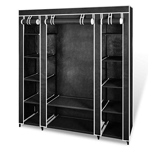 Goliraya Armario de Tela Armario Organizador Compartimentos y Varillas Negro 45x150x176 cm