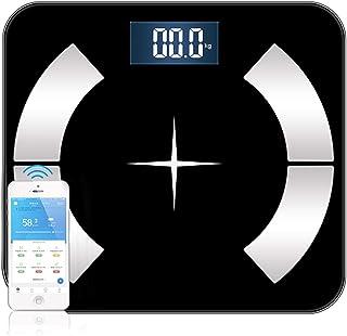 Mingfuxin - Báscula de baño con Bluetooth, digital, inteligente, analista de composición de peso muscular de BMI, monitor inalámbrico de alta precisión y aplicación actualizada