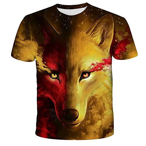BBTURE Lovers Wolf Print T-Shirt Herren 3D Boot Top T-Shirt Kurzarm Mode Rundhals Gr. S, Tk0186