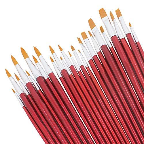 DaKuan Nylon-Pinsel-Set, 24 Stück, Premium-Acryl-Pinselstift, rund, flach, Malerpinsel-Set für Künstler, Kinder, Klassenzimmer