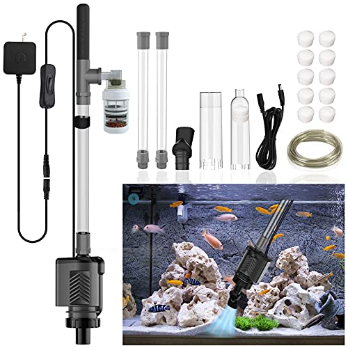 HiTauing Electric Aquarium Gravel Cleaner, 317GPH DC 24V/24W Automatic Fish Tank Cleaning Tool Set Removable Vacuum Water Changer Sand Washer Filter Changer