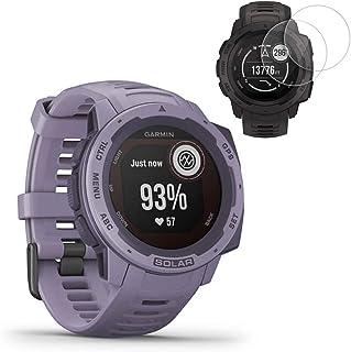Garmin Instinct Solar GPS Smartwatch- Orchid (010-02293-12) with 2X Screen Protectors
