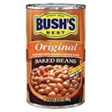 BUSH'S BEST Original Baked Beans, 28 Ounce Can, Plant-based Protein and Fiber, Low Fat, Gluten Free,...