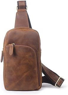 Lcxliga Outdoor Fashion Chest Shoulder Bag Genuine Leather Men Chest Bag Female Casual Messenger Bag Large-Capacity Shoulder Bag Sports (Color : Brass)