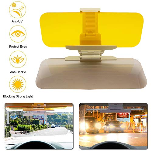 GDMEET Car Sun Visor, NEW 2 in 1 Universal Day and Night Anti-Glare Car Sun Visor, Adjustable HD Car Sun Visor Protects from Sun Glare, Snow Blindness, UV Rays, Universal for Day/Night for Driving