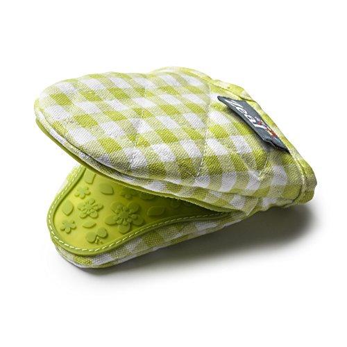 Zeal Mini Topflappen aus Silikon, Gingham-Baumwolle, 17,5 x 13,5 x 2,5 cm, Entenei-Blau, Rot, Limettengrün, Creme und Salbeigrün, Baumwolle, Lime, 17.5 x 13.5 x 2.5 cm