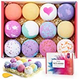 Homasy Bath Bombs, 12 Pcs Bubble Bath Bomb for Women, Kids, Wife, Mom, Handmade Bath Bomb Gift Set Rich in Essential Oils, Shea Butter, Sea Salt, SPA Bubble Fizzies Birthday Mother's Day Gift