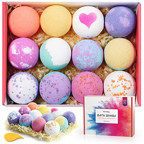 Homasy Bath Bombs, 12 Pcs Bubble Bath Bomb for Women, Kids, Wife, Mom, Handmade Bath Bomb Gift Set...