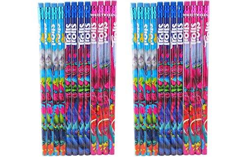 24 Pcs Trolls Wood Pencils Birthday Party Favors Bag Fillers - 2 DZ