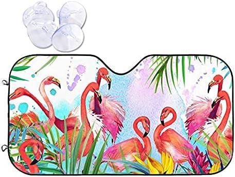 Pooizsdzzz Car Front Window Sunshade Pink Tropical Max 59% OFF Fol Flamingo shopping