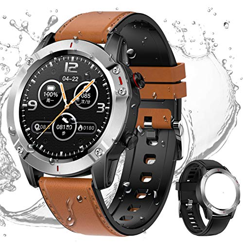 HCLKSTORE Smartwatch Fitness Tracker Orologio Intelligente Uomo Braccialetto Attività IP68 con Cinturino Ricambio Monitoraggio del Sonno di Ossigeno Pressione Arteri per iOS e Android (Argento)
