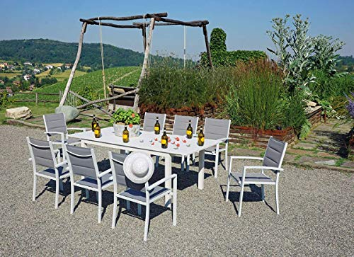 Gruppo Maruccia Juego de Comedor para Exteriores de 8 plazas con Mesa Extensible y sillas de jardín