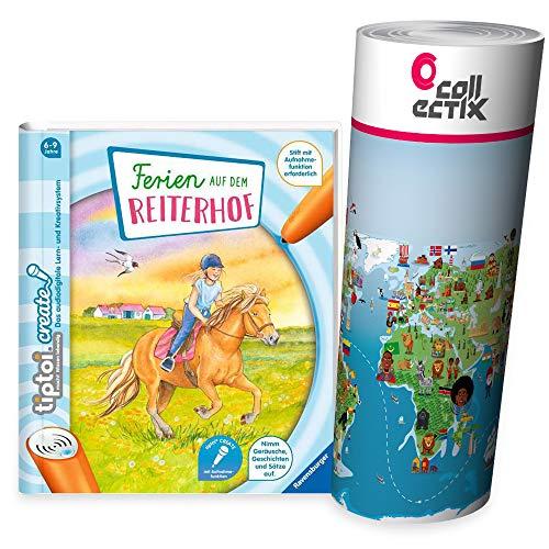 Ferien auf dem Reiterhof, Pferde   Ravensburger tiptoi Create Buch + Kinder Wimmel-Weltkarte 6-9 Jahre