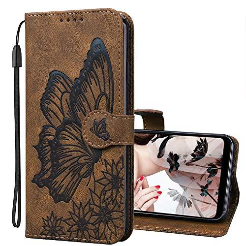 IMEIKONST Kompatibel mit LG K52, Geldbörse Hülle für LG K52, Retro Leder Flip Magnetic Handyhülle Schutzhülle LG K52. Butterfly Brown CYB
