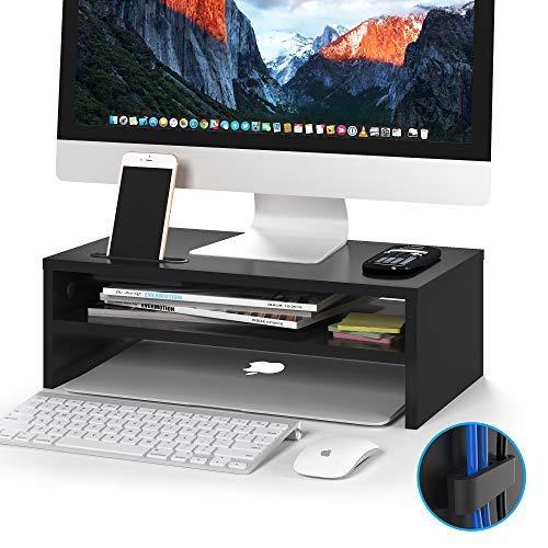 BONTEC Monitorständer, Unterbau Bildschirm, PC Bildschirm Ständer mit Handyhalter, Ergonomischem Laptop-Druckerständer mit Kabelführung für Laptop, Computer, Notebook, iMac, PC, 42CM, Schwarz