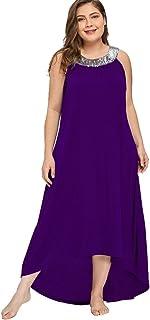 d0086f121473 Vestito Stile Impero Donna Lungo Moda Abito Taglie Forti Casual Giorno  Vestiti con Paillettes Vestitini Estivi