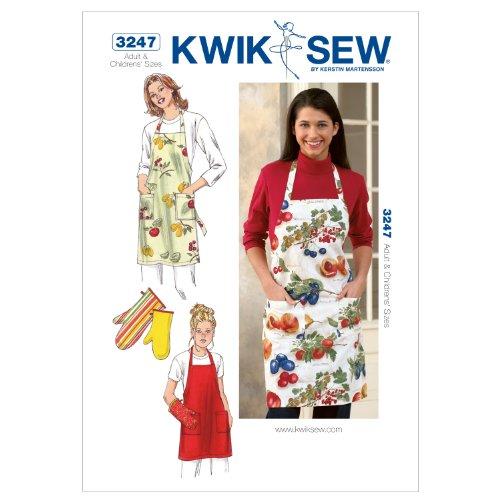 Kwik Sew K3247 Apron and Oven Mitt Sewing Pattern, No Size