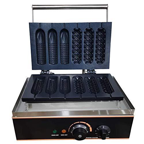Gofrera de acero inoxidable, 6 gofres, 2 formas diferentes con temporizador, placas antiadherentes, 1500 W