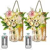 Roylvan Apliques con Floreros Decorativos, 2 PZS Lámparas de Pared Pendientes con 8 Modos Luces LED Cadena Arreglos Florales para Granja Patio Dormitorio Baño Cumpleaño Boda Aniversario, Multicolores