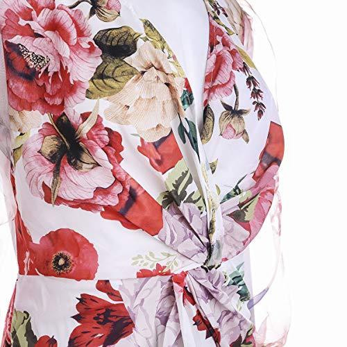 Mujer Vestido Sexy Elegante de Cuello en V Profundo Vestidos Delgados de Verano de Manga Larga Transparente con Estampado de Leopardo/Floral para Casual Boda Fiesta Cóctel Club (Rojo, M)