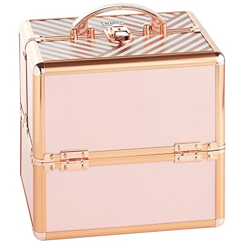 Beautify Makeup Cosmetic Organizer Train Case 10' Professional Aluminum Storage Box Blush Pink Stripe with Lock and Rose Gold Handles