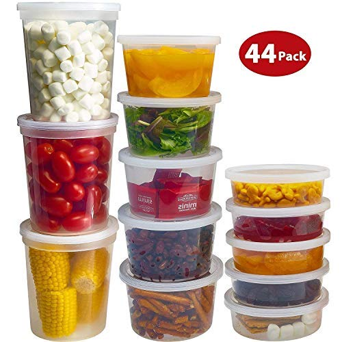 Food Storage Containers with Lids - 36 and 44 Mixed Sets [12pcs 8oz, 12pcs 12oz, 12pcs 32oz] Freezer Deli Cups Combo Pack, Microwavable BPA-Free Leakproof Round Clear Takeout Container Meal Prep (44)