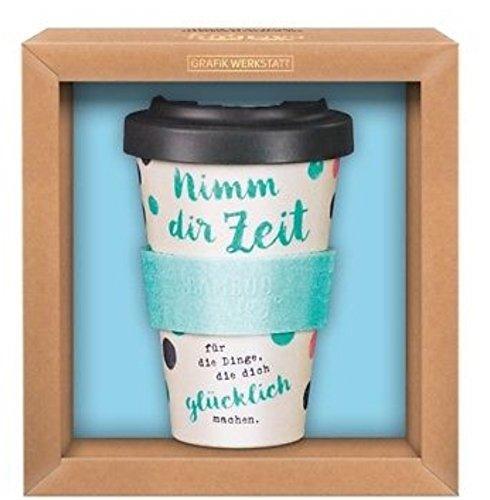 Grafik-Werkstatt Premium Becher mit Deckel |Kaffeebecher to go | 400 ml | Zeit