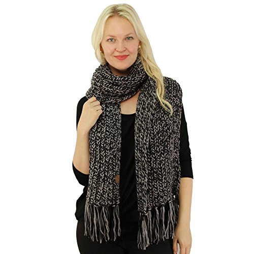 CC 2tone Mix Knit Soft Super Chunky Thick Long Big Large Cowl Fringe Scarf Black
