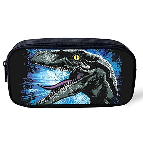HUGS IDEA Raptor - Estuche de lona para lápices de dinosaurios, bolsa de almacenamiento de papelería, estuche para lápices para niños