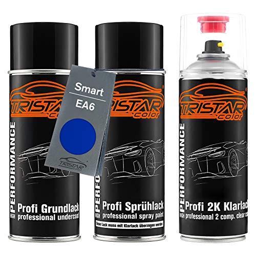 TRISTARcolor Autolack 2K Spraydosen Set für Smart EA6 True Blue Metallic Grundlack Basislack 2 Komponenten Klarlack Sprühdose