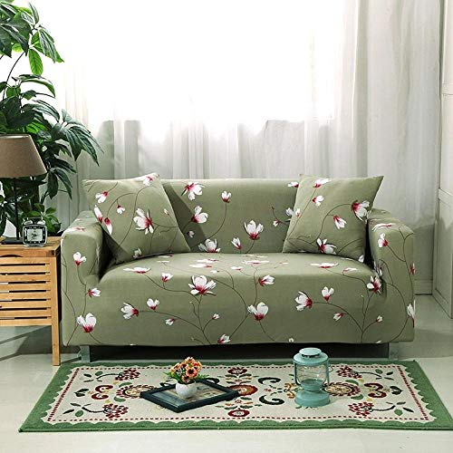 Funda de sofá de 1 Plazas Funda Elástica para Sofá Poliéster Suave Sofá Funda sofá Antideslizante Protector Cubierta de Muebles Elástica Flor Verde Funda de sofá