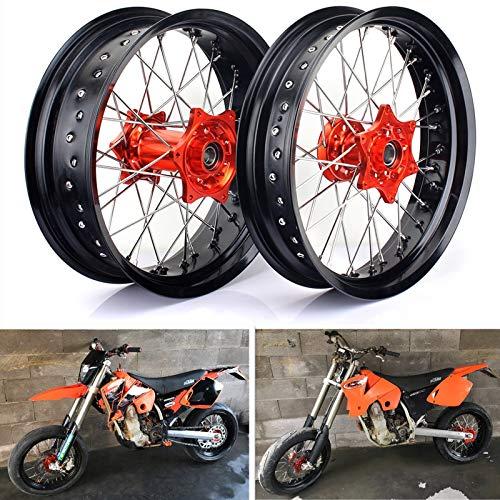 TARAZON 17' Supermoto llantas Radsatz Nabe Wheel para KTM SX 125 150 250 15-19/SX-F XCF 250 350 450 15-19/XC 250 300 15-16