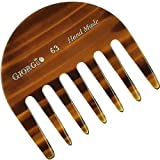 Giorgio G63 Small Travel Purse Hair Detangling Comb, Wide Teeth Pocket Comb for Thick Curly Wavy Hair. Hair Detangler Comb For Wet and Dry Everyday Care. Handmade of Cellulose, Saw-Cut Hand Polished