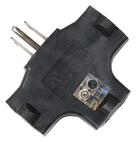 ADJ Products Black Triple tap one Male 3 Edison Female Adaptor (EC3FER)
