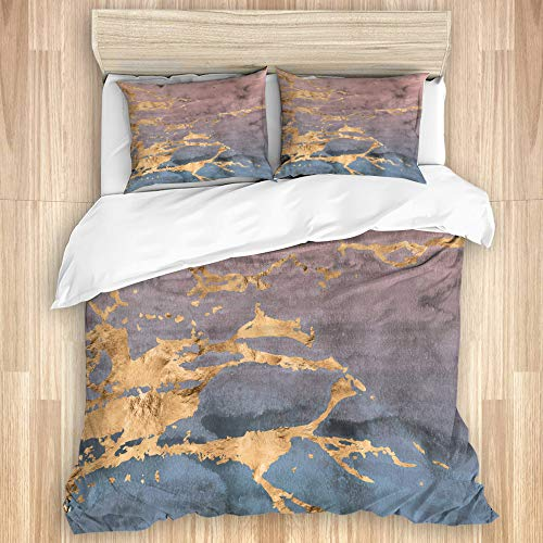 NOLOVVHA Decorative Duvet Cover Set,Abstract rose gold marbled veins overlaid on an ombre watercolor in a soft pink and blue gradient effect,Microfibre 260x220 with 2 Pillowcase 50x80,Super King