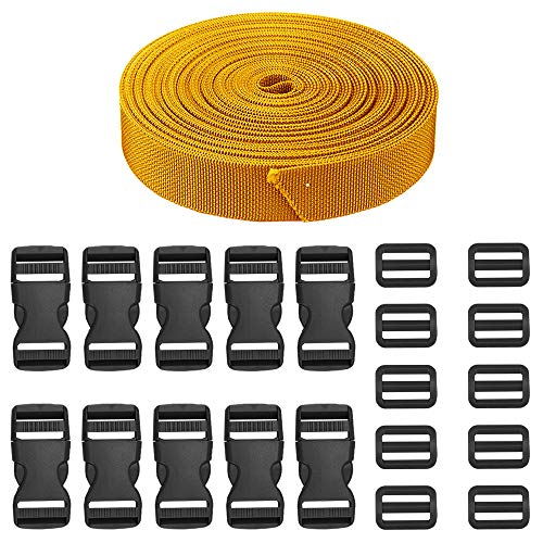 JETEDC(ジェットイデイシイ)Molle スーツケースベルト 荷崩れ防止 ベルト10セット 25mm×10m ワンタッチ式ロックプラスチックロック10個入り 荷締めベルト 作業用ベルト 調整可能 (ゴールデンイエロー)