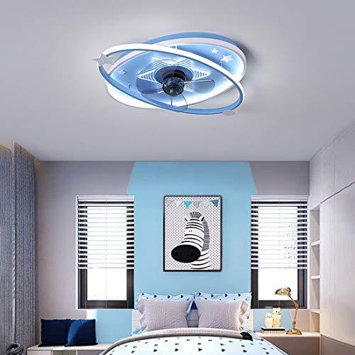 MYYINGBIN Infantil Lamparas Ventilador De Techo con Mando 3 Velocidades Dormitorio LED Regulable Ultradelgado Ventilador Techo con Luz Y Temporizador Silencioso Sala Ventilador Techo con Luz,Azul