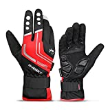 INBIKE Cycling Winter Gloves,for Men Windproof Reflective Thermal Gel Pads Touch Screen MTB Mountain Bike Red Medium