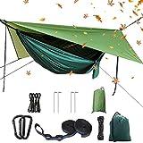 Juego de hamacas para camping, hamaca doble individual, mosquitera, red de insectos, mosca de la lluvia, tela de paracaídas de alta resistencia, adecuado para exteriores, senderismo, camping y viajes