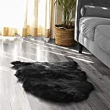 Silky Super Soft Faux (Fake) Sheepskin Black Shag Rug and Machine Washable. Great for Photography or a Bedroom Get The Real Look Without Harming Animals (Single Pelt - 2 feet x 3 feet)