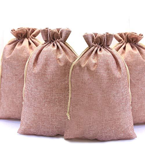 DAHI Jutesäckchen 12 Stück Säckchen Geschenksäckchen 20x30cm, Jute Sack, Jute Beutel (A)