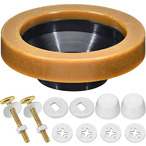 11 Pieces Toilet Wax Ring Kit Include Closet Bolts, Bolt Caps, Thick Flange and Retainer Washers, Fits 3 Inch and 4 Inch Waste Lines for Toilet Gas Odor and Watertight Sealing Supplies