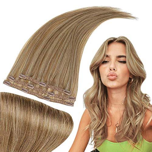 RUNATURE Clip in Extensions Echthaar Haarverlängerung 30cm 12 Zoll Farbe 10P16 Blond Hervorgehobene Goldene Blondine Haar Verlängerungen 50g 3 Stück Echthaar Extensions