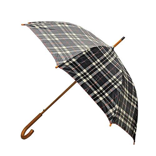 """Guarda-chuva clássico aberto automático com alça de gancho de madeira real da Rainbrella, Black Plaid, 46"""""""