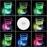 Paquete de 10 posavasos LED para bebidas, posavasos con luz Dumcuw, posavasos LED intermitentes para fiestas, bodas, bares