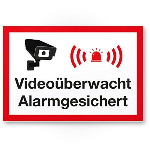Videoüberwacht/Alarmgesichert/Wachhunde Kunststoff Schild - Achtung/Vorsicht Videoüberwachung - Hinweis/Hinweisschild Videoüberwacht - Hinweis/Warnhinweis